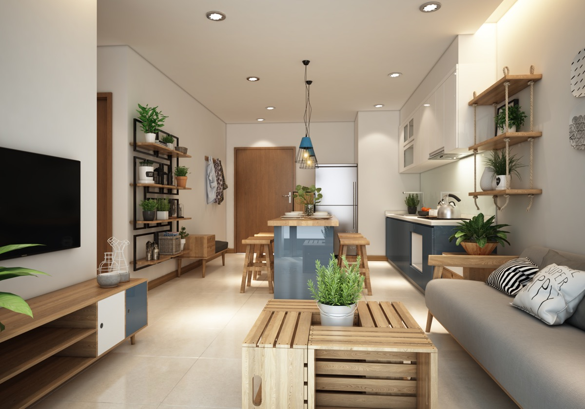 Small Modern Apartment Design With Asian And Scandinavian