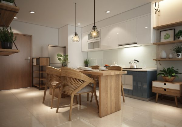 On one scatter cushion one door of the entertainment console two small pendant lights and just the central island and lower cabinets of the kitchen