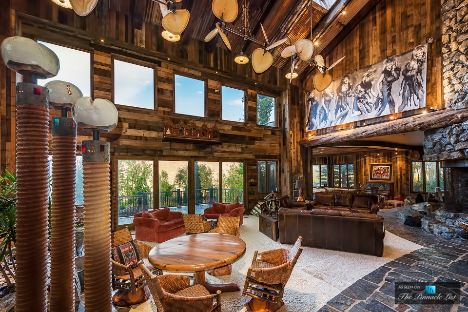 Rustic Mountaintop Mansion With Indoor River
