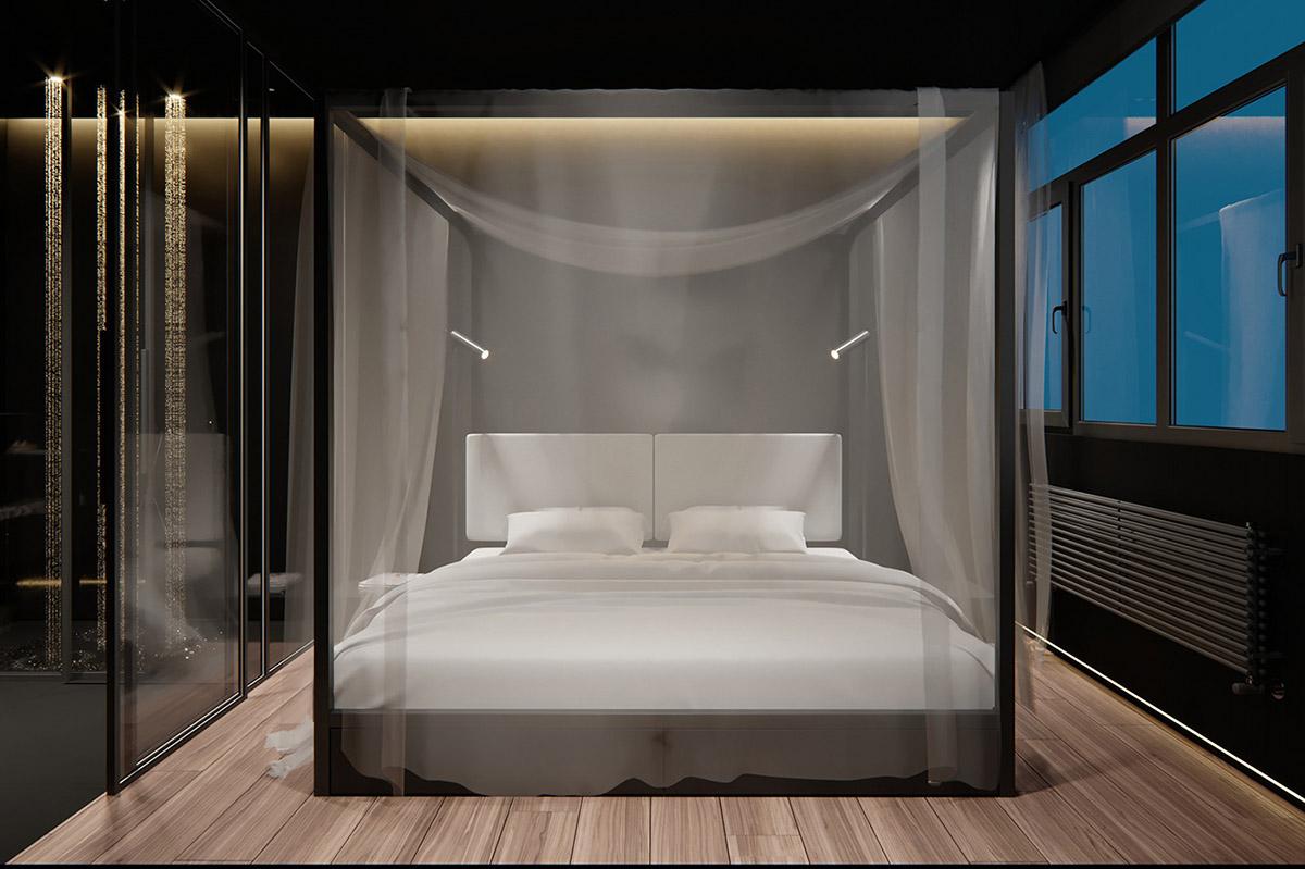 Sử Dụng Tông Màu Tối Để Làm Nổi Bật Căn Phòng Thêm Phần Sang Trọng - 4 poster bed