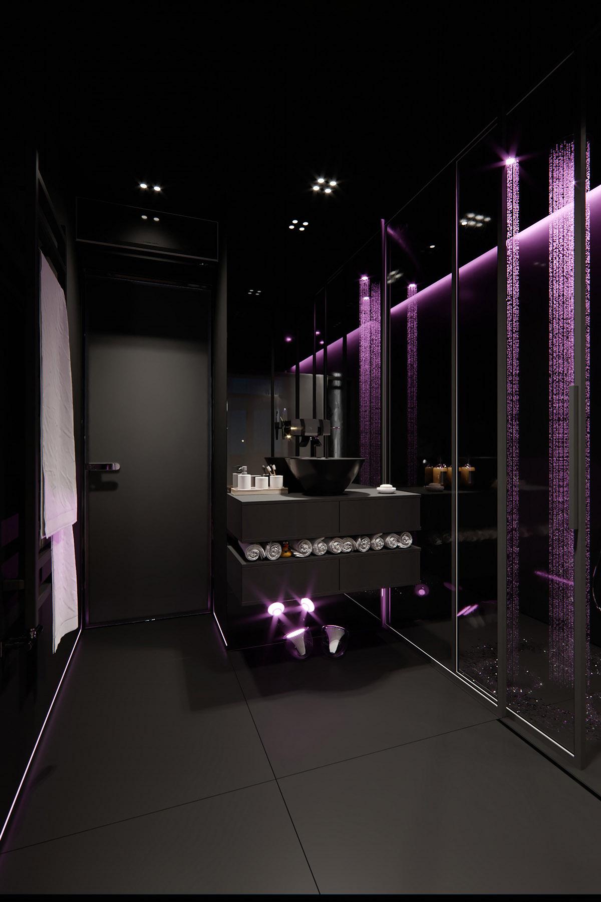 Sử Dụng Tông Màu Tối Để Làm Nổi Bật Căn Phòng Thêm Phần Sang Trọng - Bathroom lights
