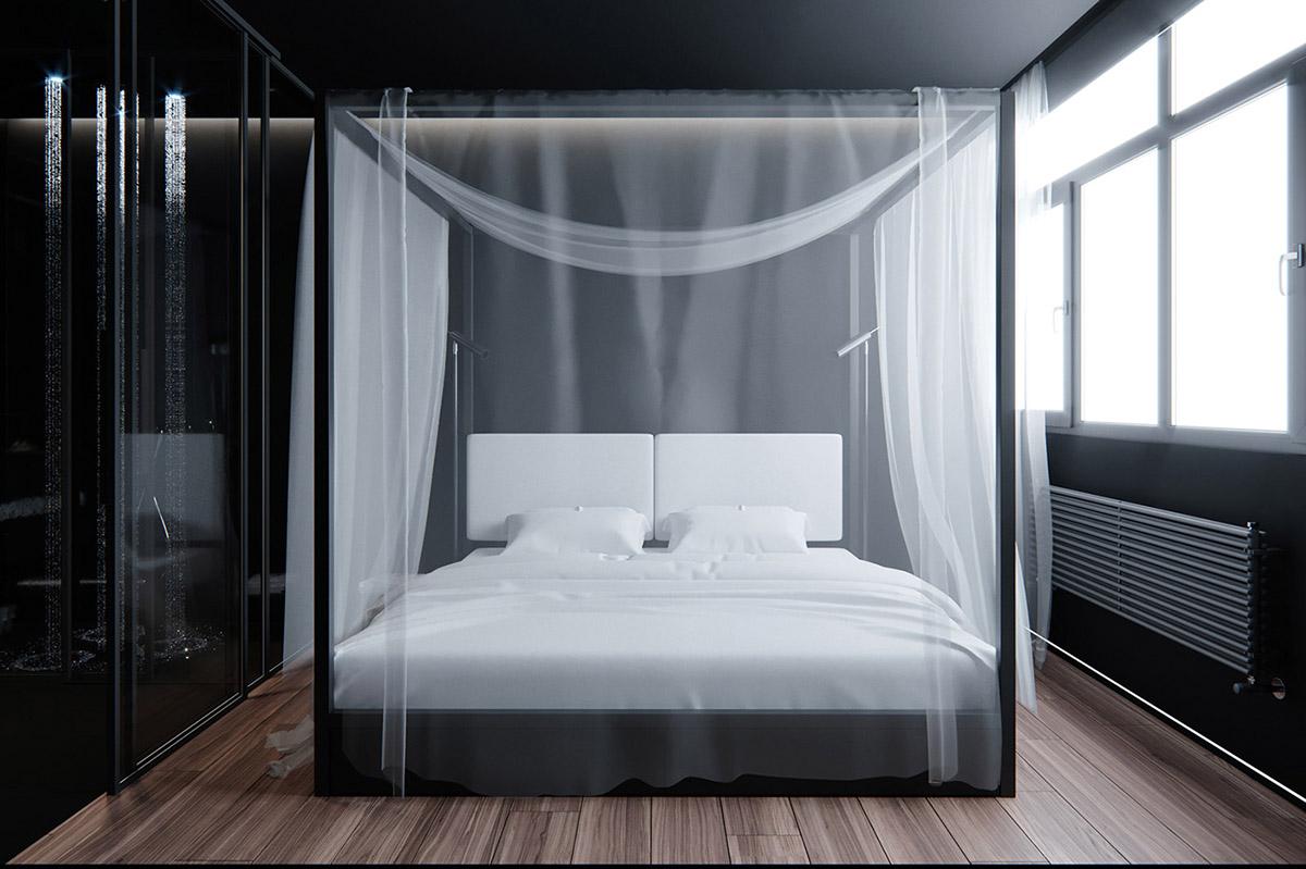 Sử Dụng Tông Màu Tối Để Làm Nổi Bật Căn Phòng Thêm Phần Sang Trọng - Black and white bed