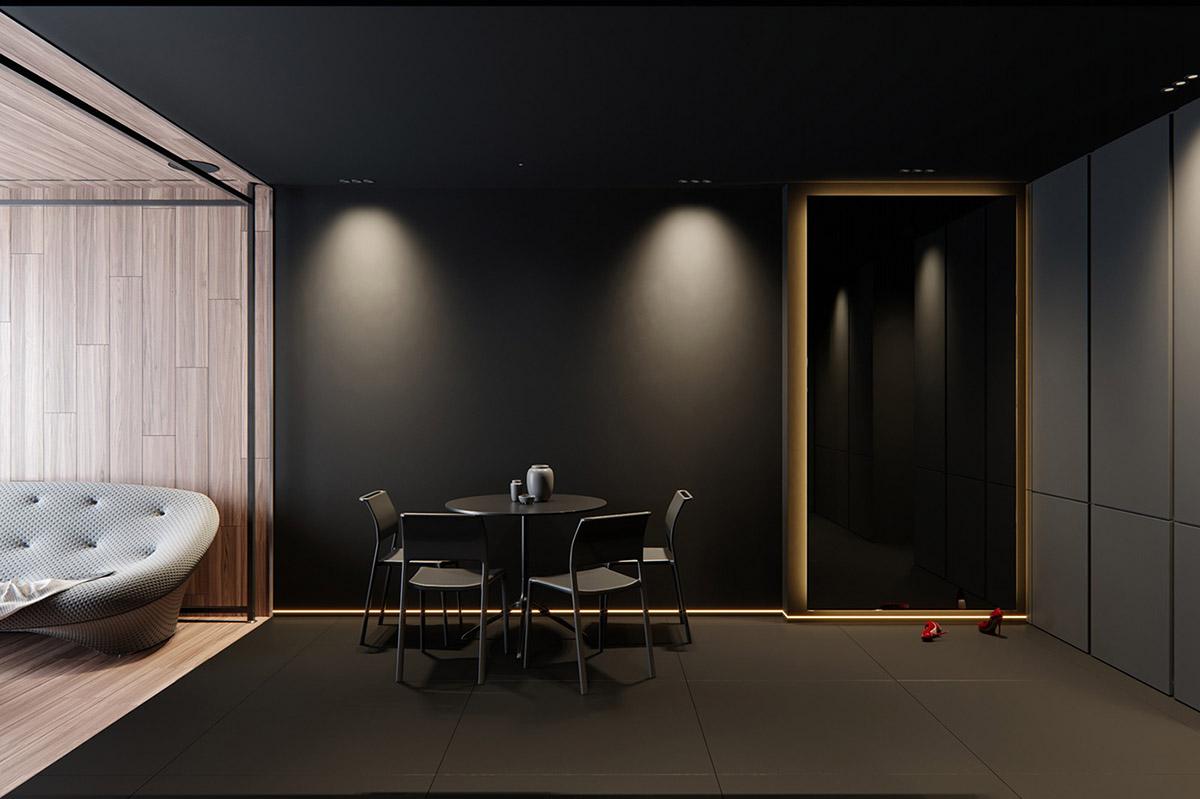 Sử Dụng Tông Màu Tối Để Làm Nổi Bật Căn Phòng Thêm Phần Sang Trọng - Black dining set