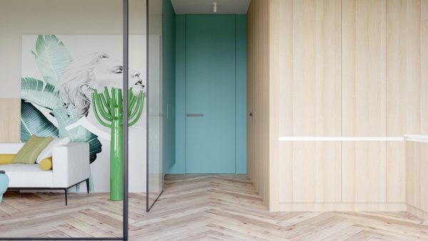 A blue entry door stands out against adjacent wooden panels