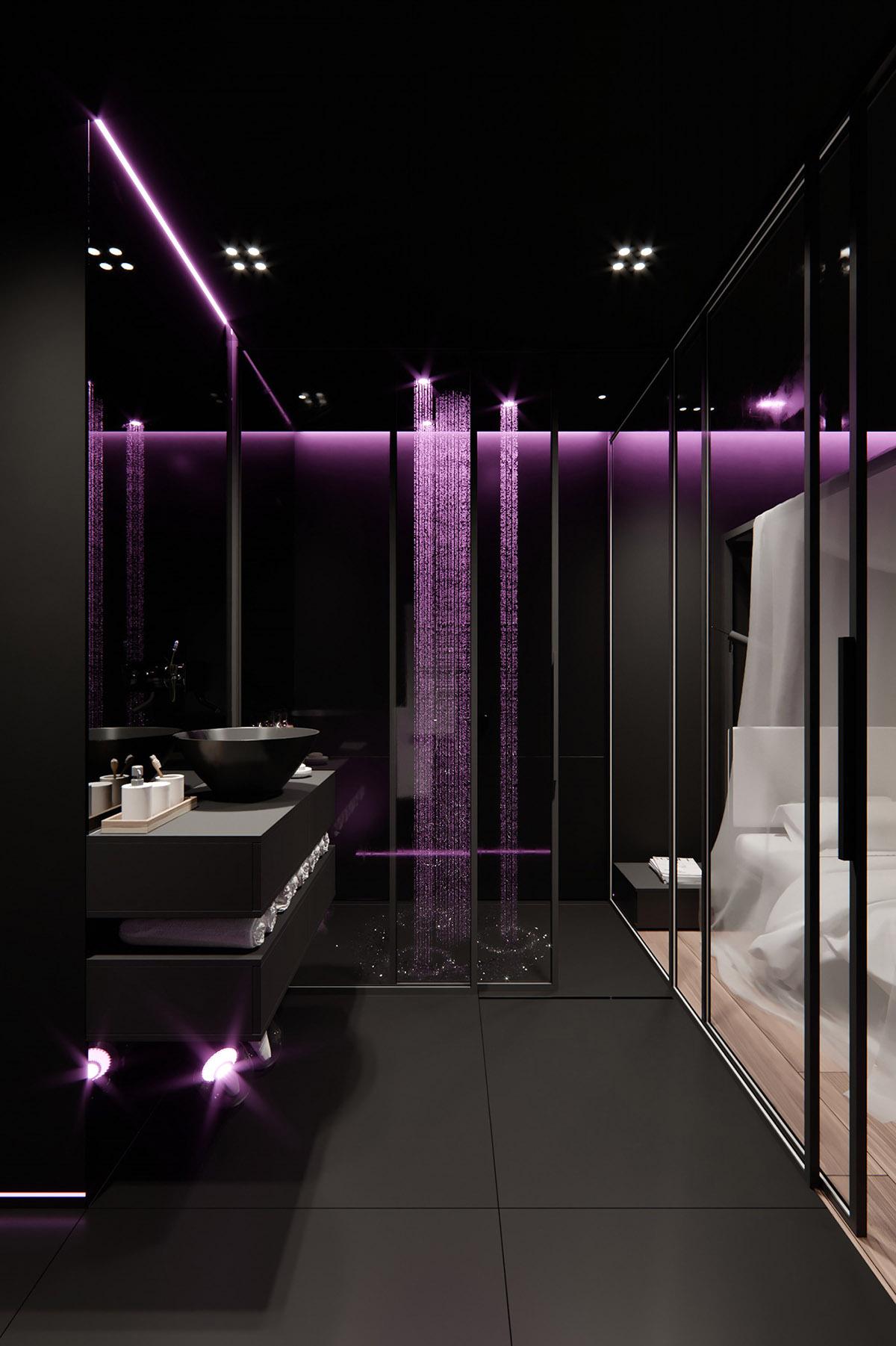 Sử Dụng Tông Màu Tối Để Làm Nổi Bật Căn Phòng Thêm Phần Sang Trọng - Colour changing shower heads