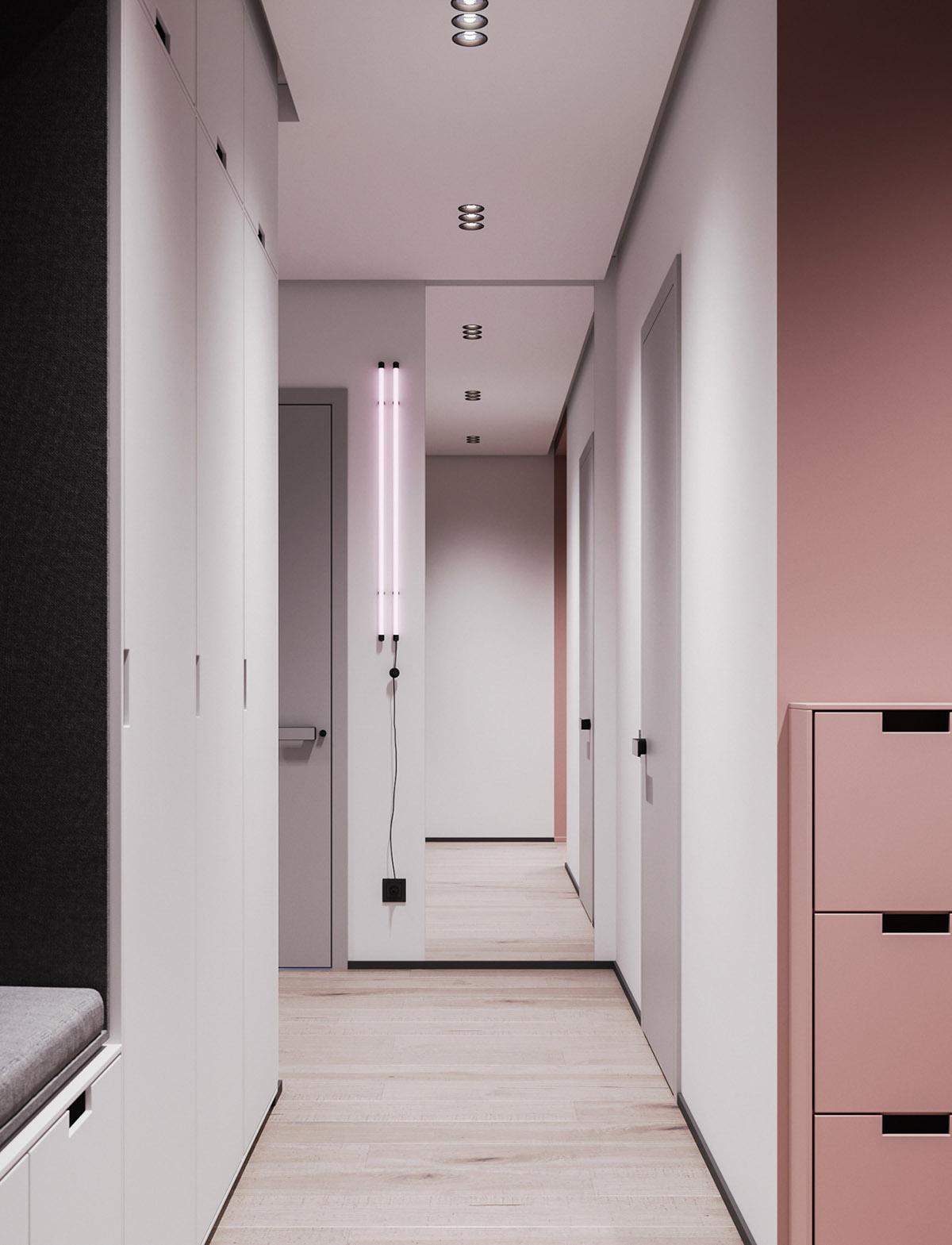 Một số thiết kế nội thất sử dụng màu hồng và xám - Full length mirror