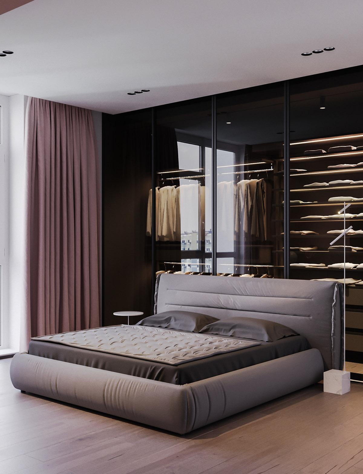 Một số thiết kế nội thất sử dụng màu hồng và xám - Grey upholstered bed 1