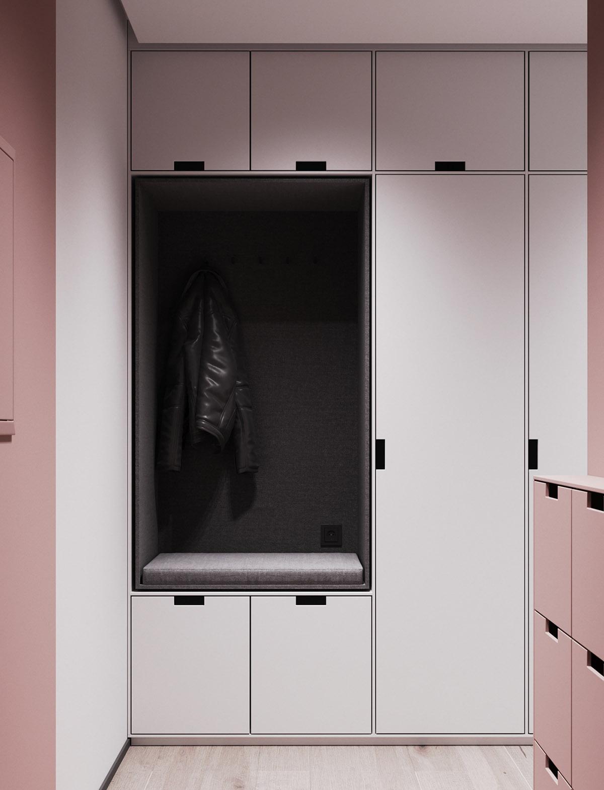 Một số thiết kế nội thất sử dụng màu hồng và xám - Hall bench