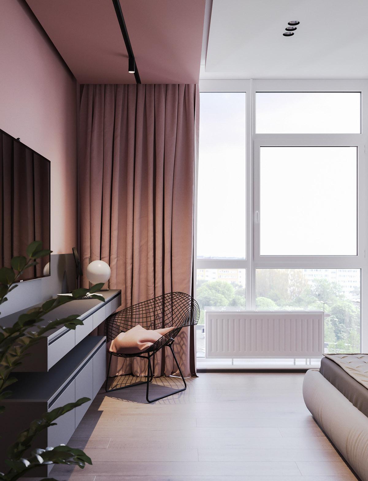 Một số thiết kế nội thất sử dụng màu hồng và xám - Metal accent chair