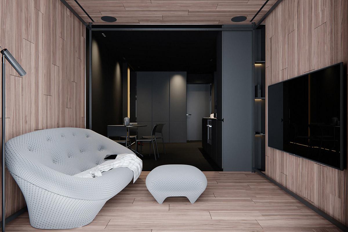 Sử Dụng Tông Màu Tối Để Làm Nổi Bật Căn Phòng Thêm Phần Sang Trọng - Modern sofa
