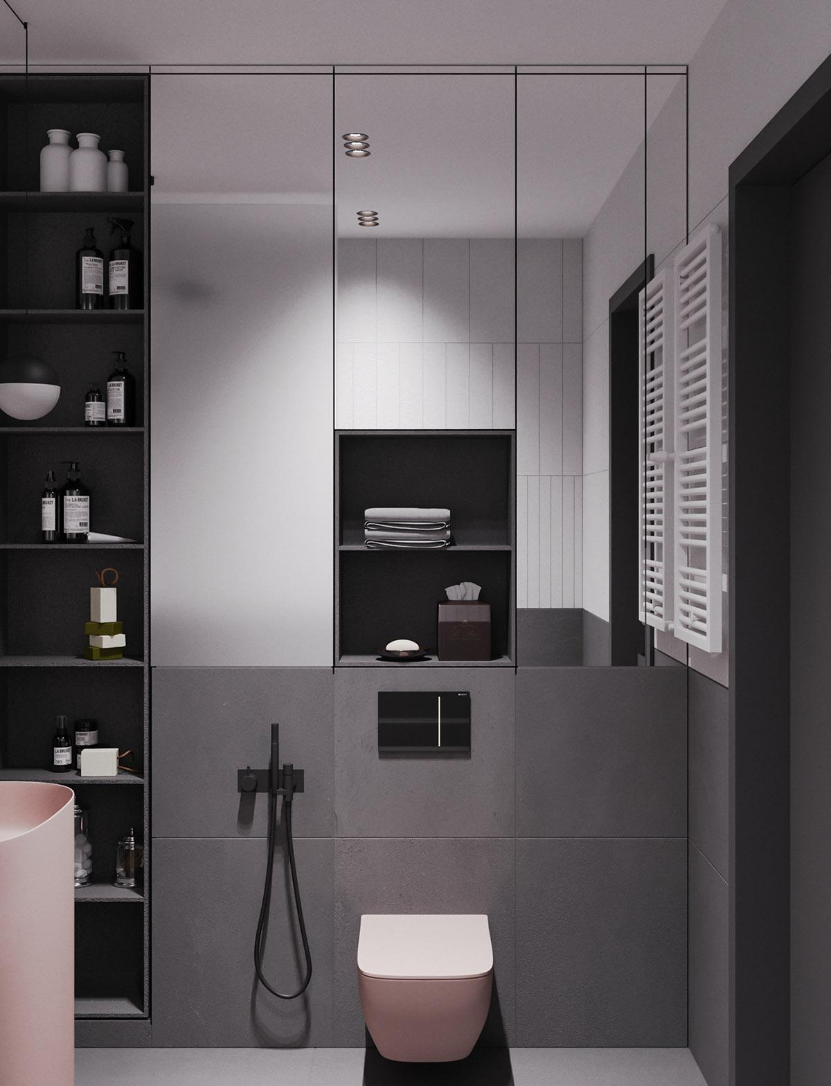 Một số thiết kế nội thất sử dụng màu hồng và xám - Pink grey bathroom