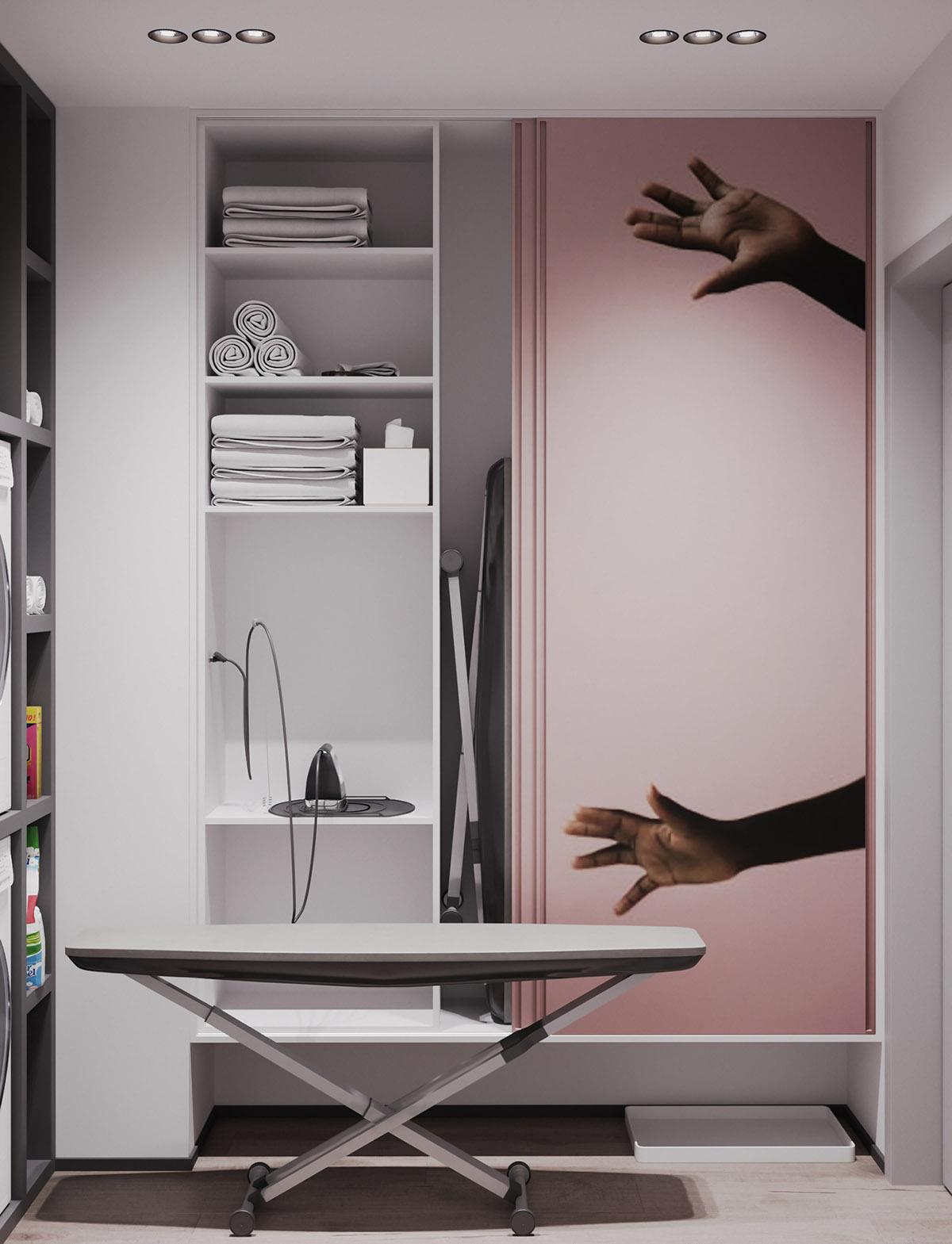 Một số thiết kế nội thất sử dụng màu hồng và xám - Pink utility room