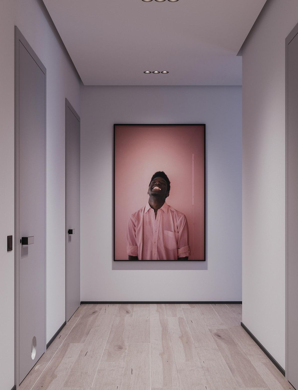 Một số thiết kế nội thất sử dụng màu hồng và xám - Pink wall art