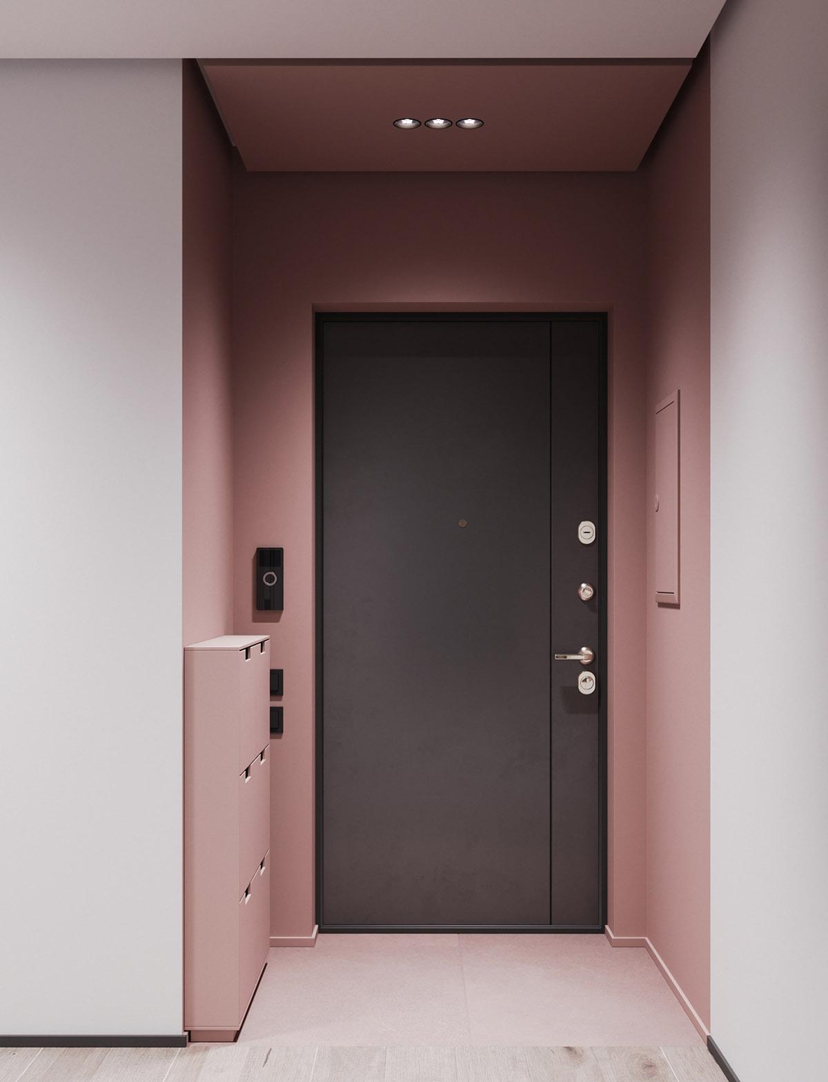 Một số thiết kế nội thất sử dụng màu hồng và xám - Shoe storage
