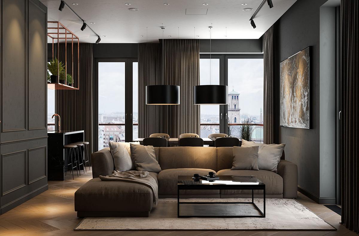 appealing black living room interior designs | Modern Dark Interior Design