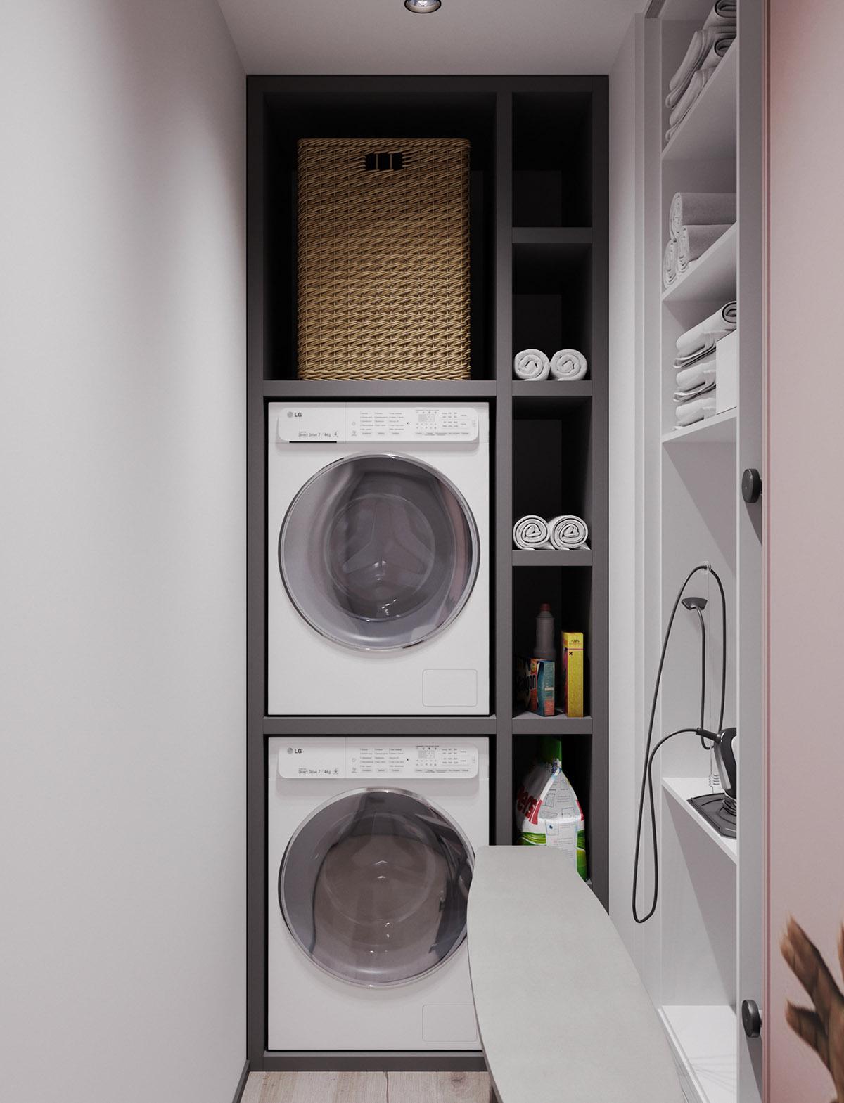 Một số thiết kế nội thất sử dụng màu hồng và xám - Utility room storage