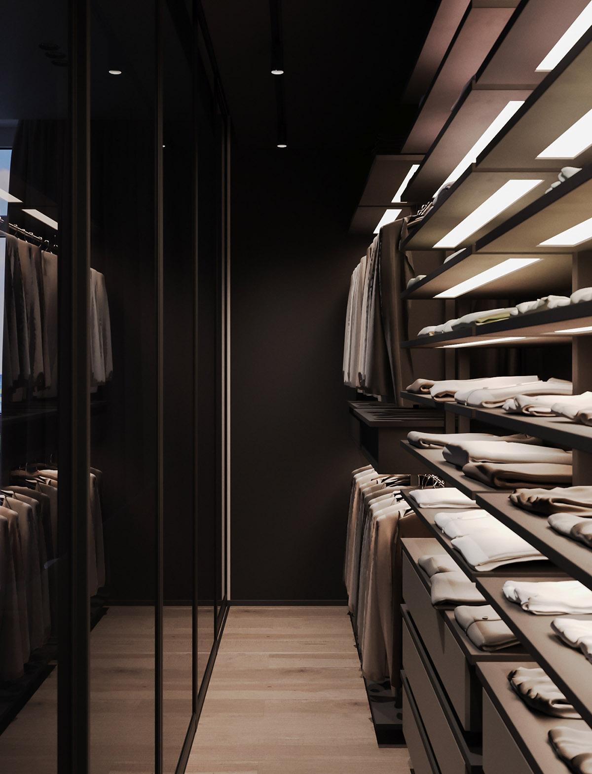 Một số thiết kế nội thất sử dụng màu hồng và xám - Walk in wardrobe