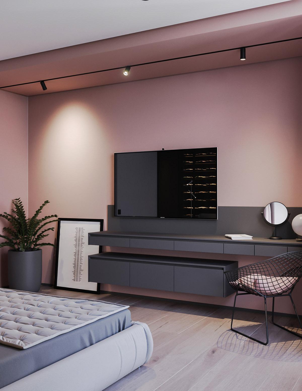 Một số thiết kế nội thất sử dụng màu hồng và xám - Wall mounted dressing table