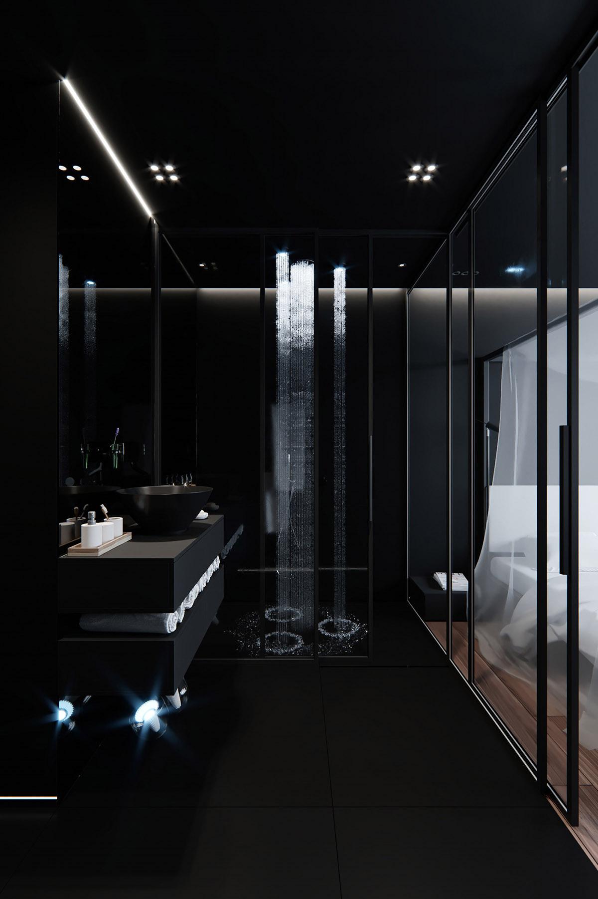 Sử Dụng Tông Màu Tối Để Làm Nổi Bật Căn Phòng Thêm Phần Sang Trọng - Waterfall shower