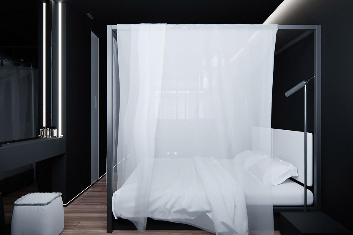 Sử Dụng Tông Màu Tối Để Làm Nổi Bật Căn Phòng Thêm Phần Sang Trọng - White curtains