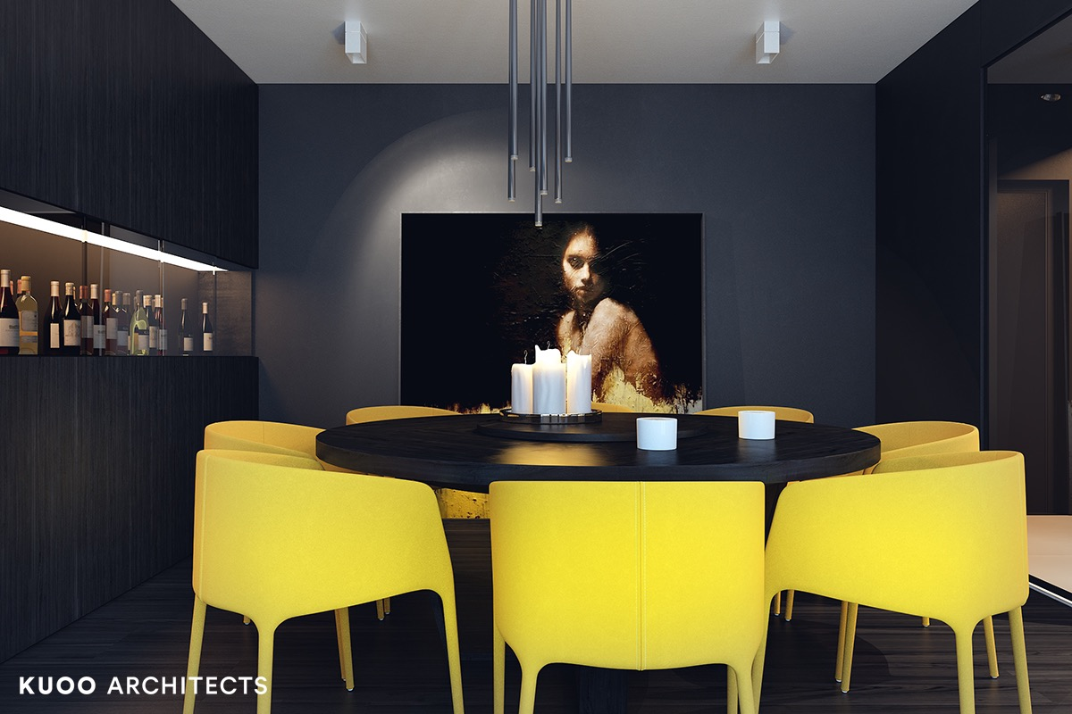 2 Visualizer Kuoo Architects This Modern Black Dining Table