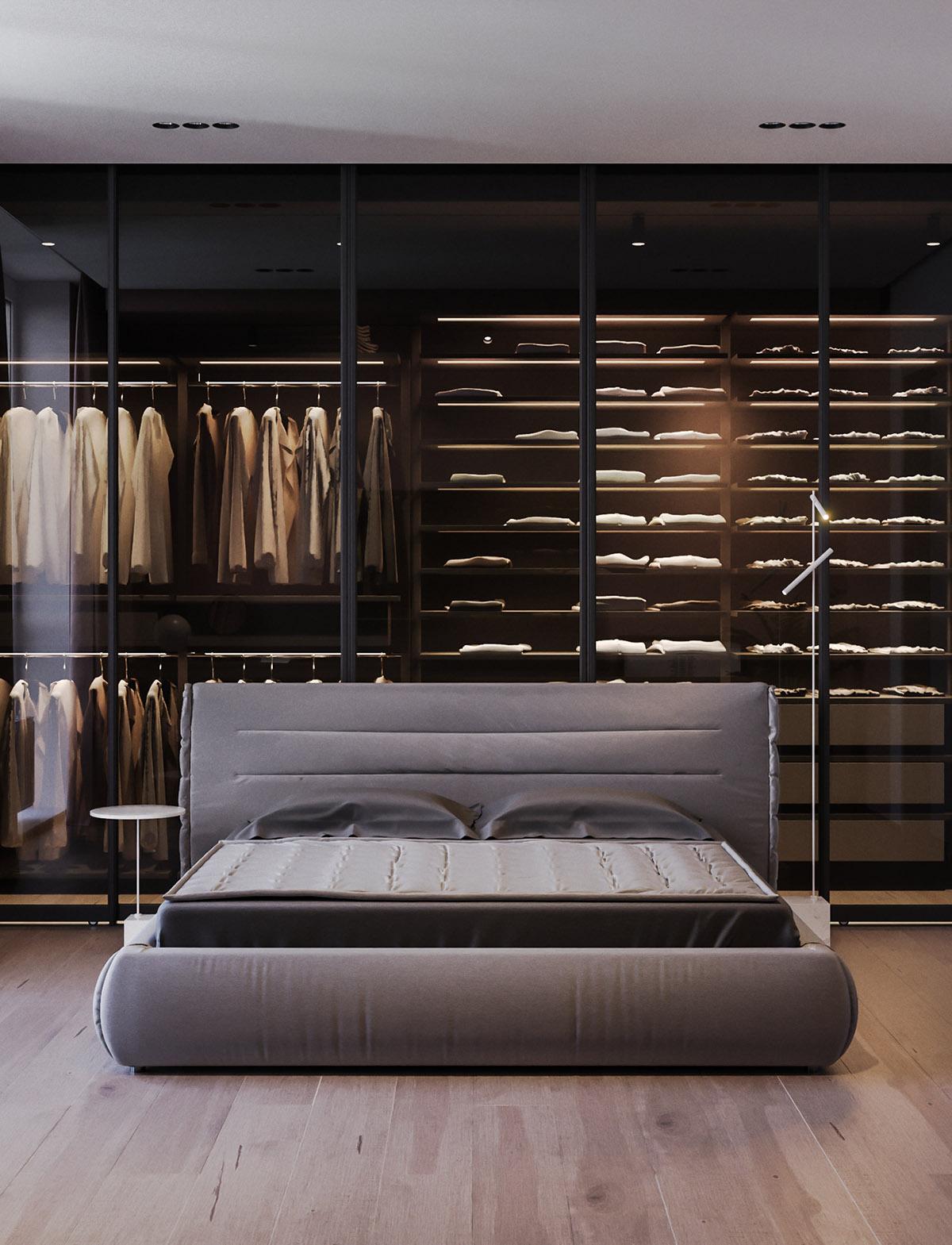 Một số thiết kế nội thất sử dụng màu hồng và xám - bedroom with attached wardrobe