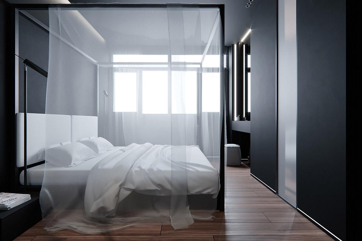 Sử Dụng Tông Màu Tối Để Làm Nổi Bật Căn Phòng Thêm Phần Sang Trọng - black and white bedroom