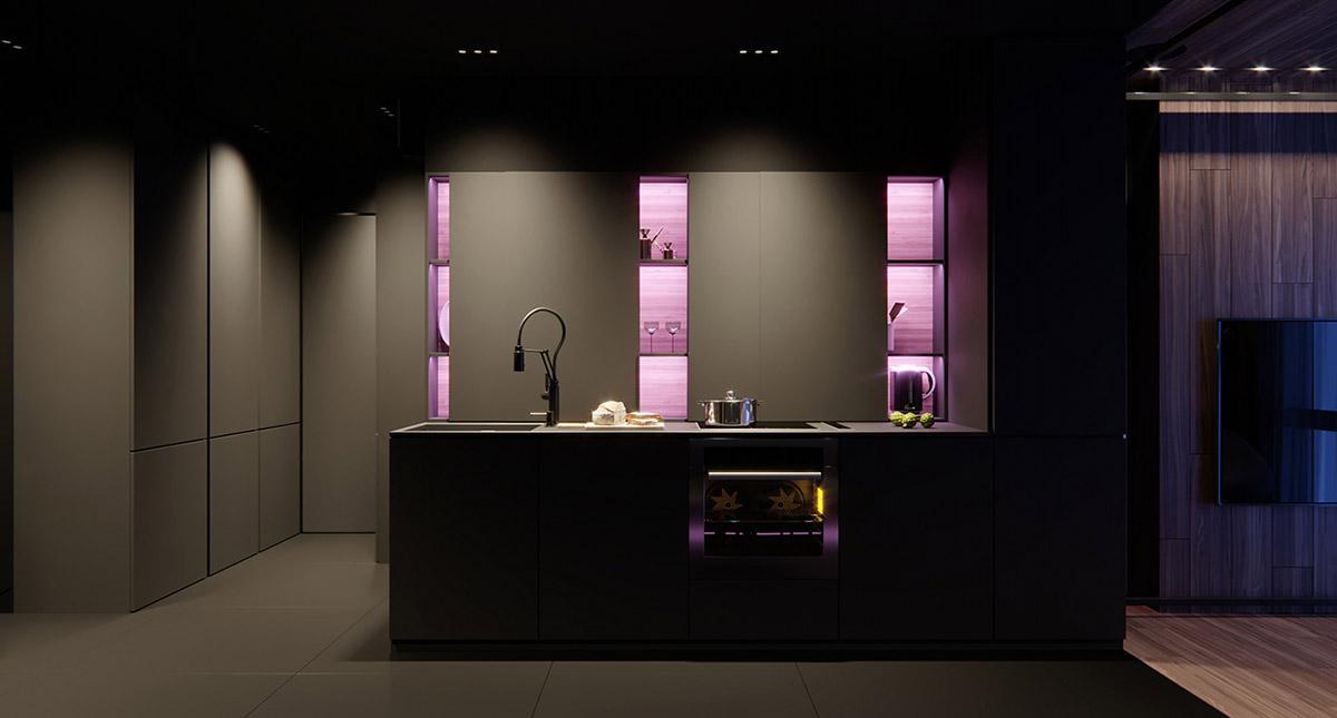 Sử Dụng Tông Màu Tối Để Làm Nổi Bật Căn Phòng Thêm Phần Sang Trọng - black kitchen 1
