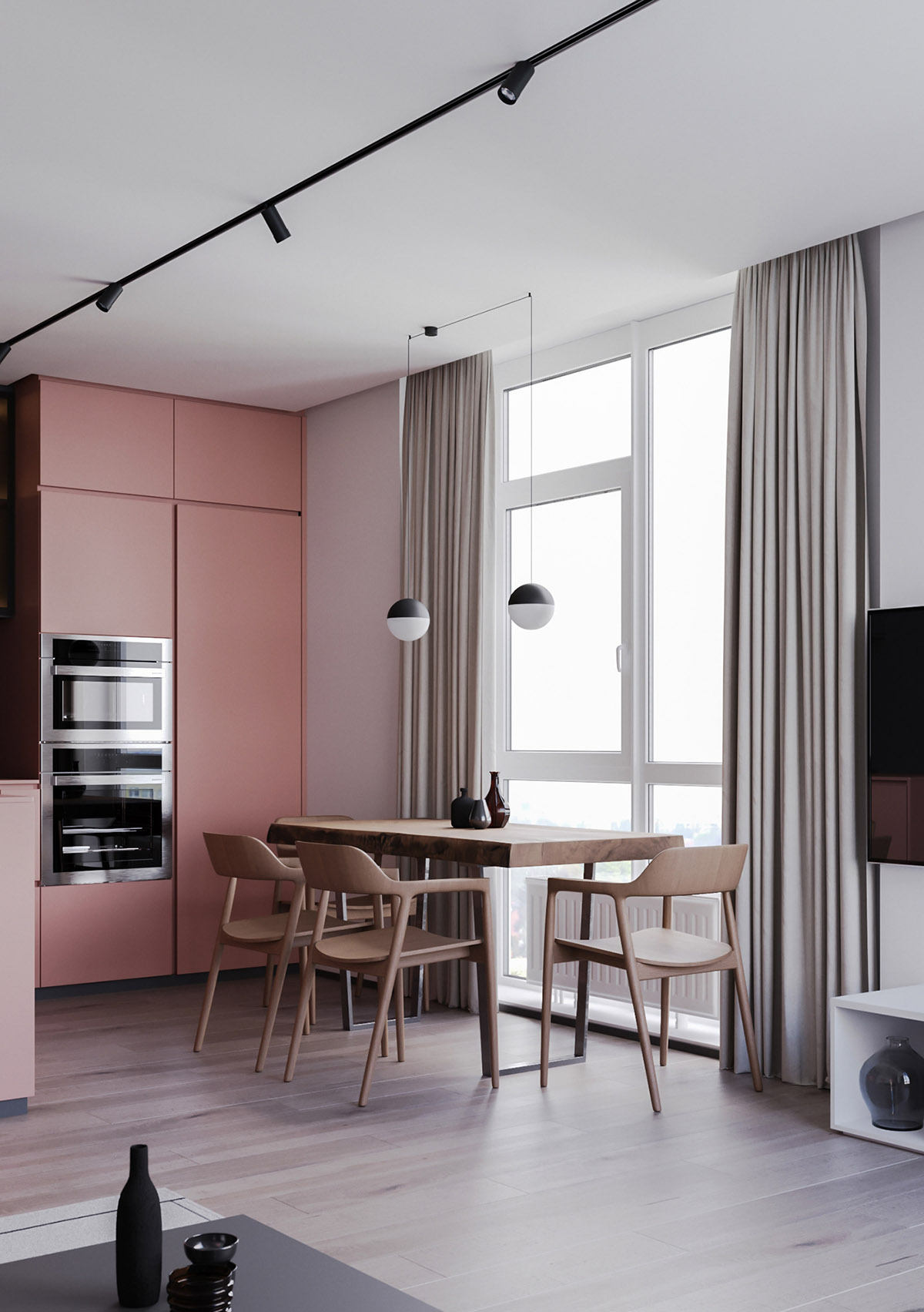 Một số thiết kế nội thất sử dụng màu hồng và xám - globe pendant lights 3