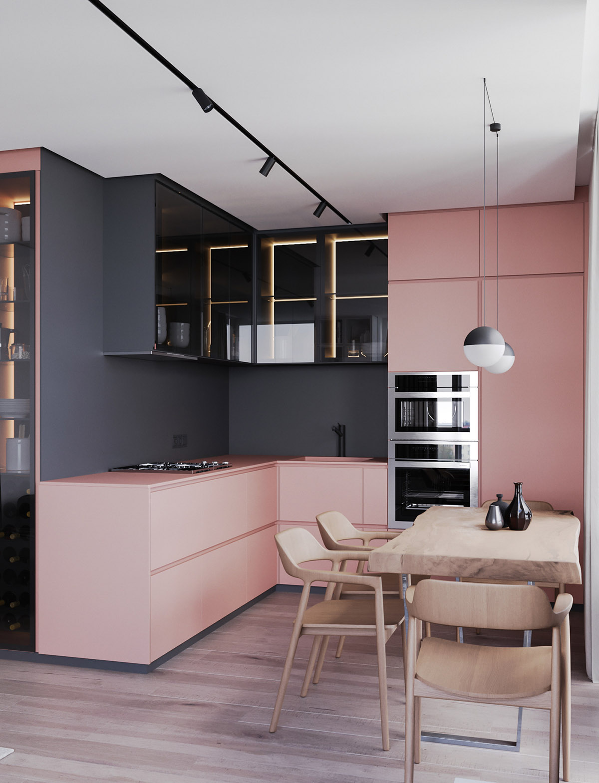 Open Concept Kitchen Living Room Ideas: A Striking Example Of Interior Design Using Pink & Grey