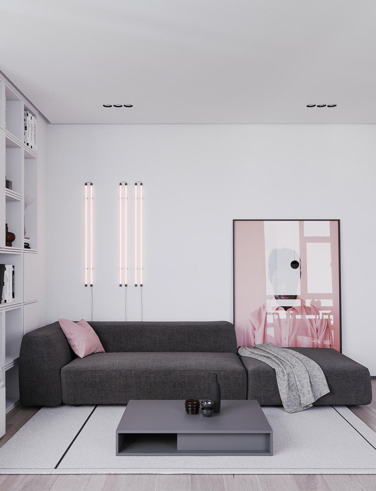 Một số thiết kế nội thất sử dụng màu hồng và xám - low modern coffee tables