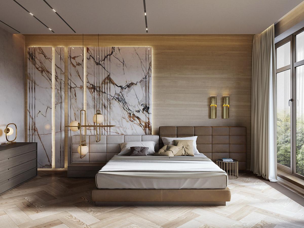 Designer Luxury Bedroom: Interior Design Using Marble And Wood Combinations