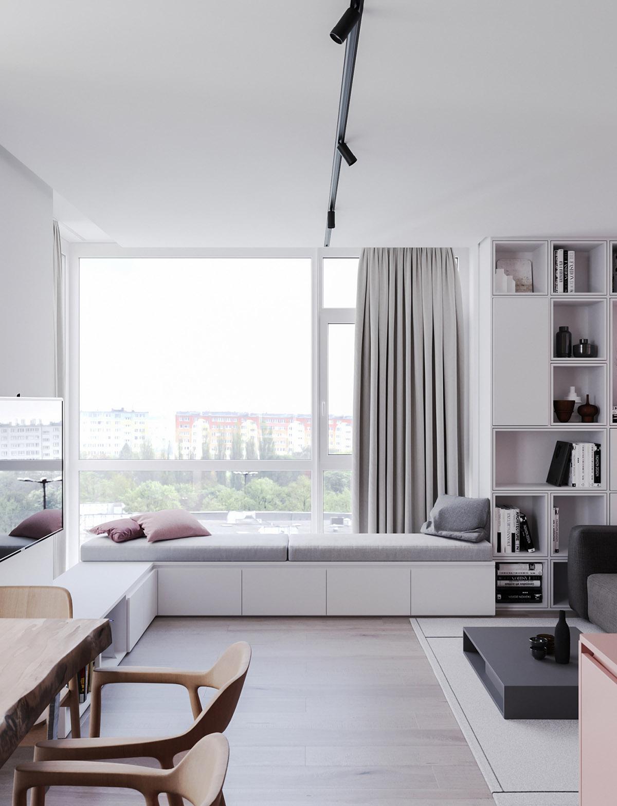 Một số thiết kế nội thất sử dụng màu hồng và xám - reading nook