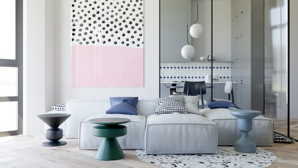 The idea of summer blotches of dew led the visualisation of this turquoise and grass colour decor a large amount of black was also introduced to add