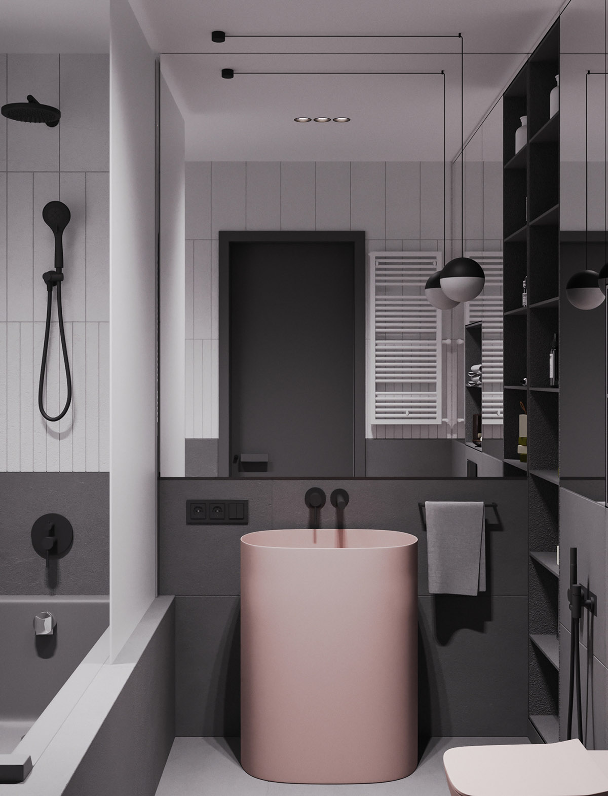 Một số thiết kế nội thất sử dụng màu hồng và xám - unique sink