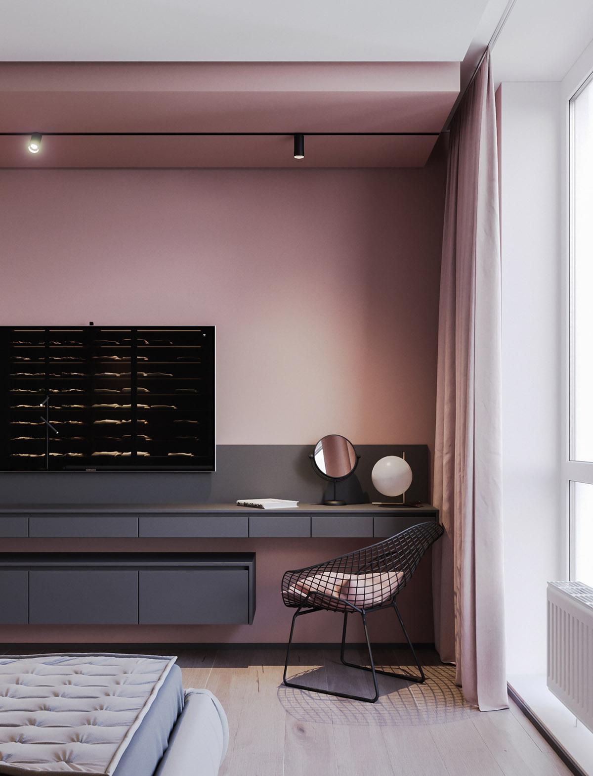 Một số thiết kế nội thất sử dụng màu hồng và xám - vanity chair
