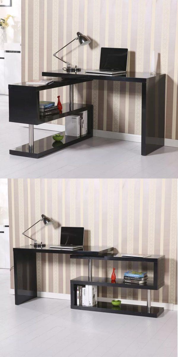 Modern Home Office Desks For Your Workspace, Black Corner Computer Desk With Hutch