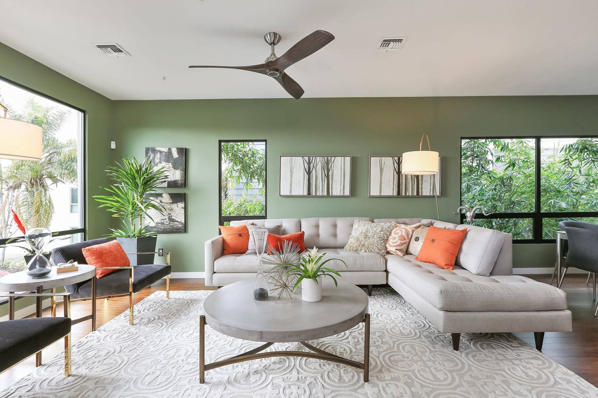 grey and sage green living room