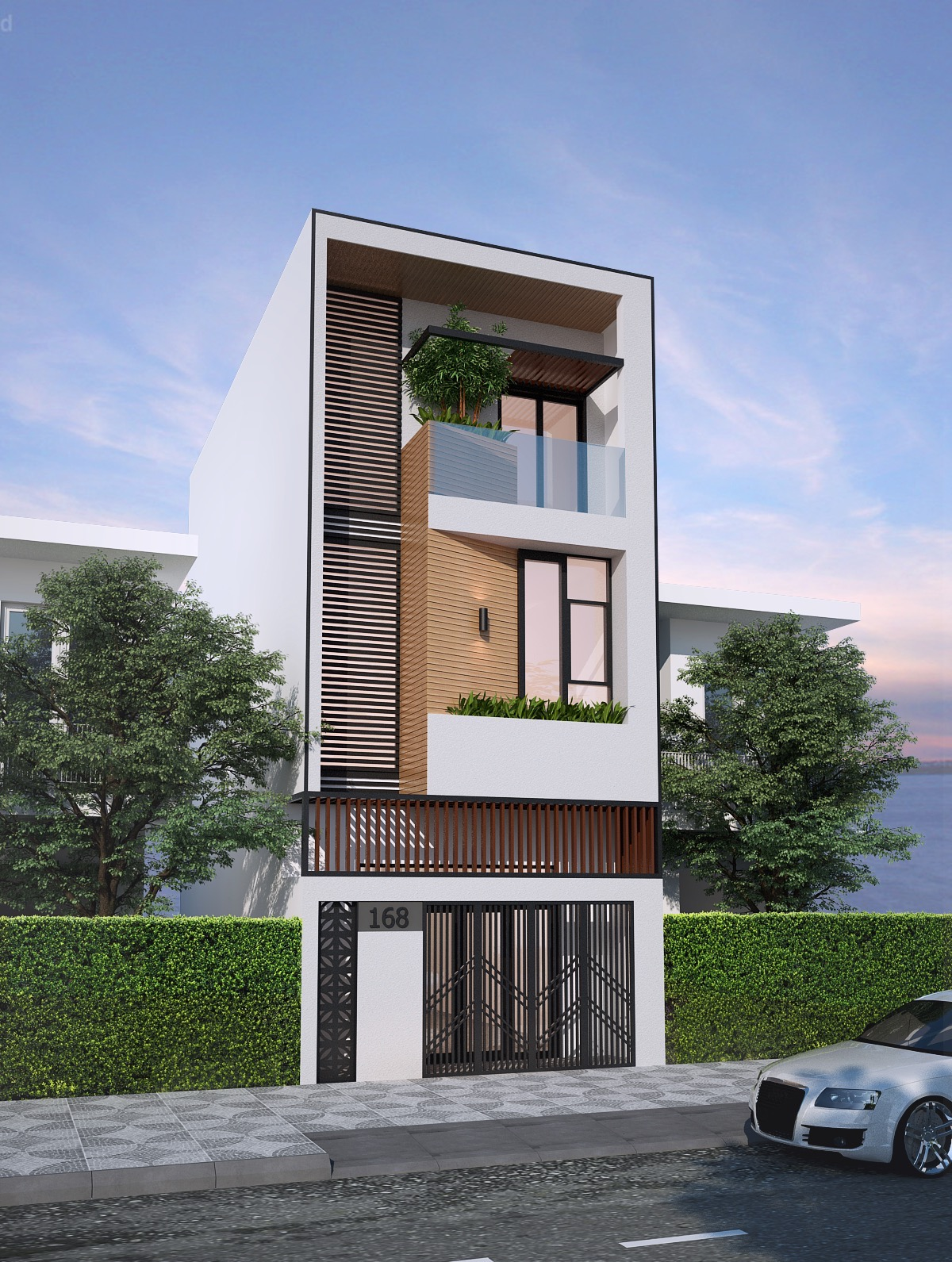 Exterior House Designs Exterior Modern With Concrete Patio Flat Roof: 50 Narrow Lot Houses That Transform A Skinny Exterior Into Something Special