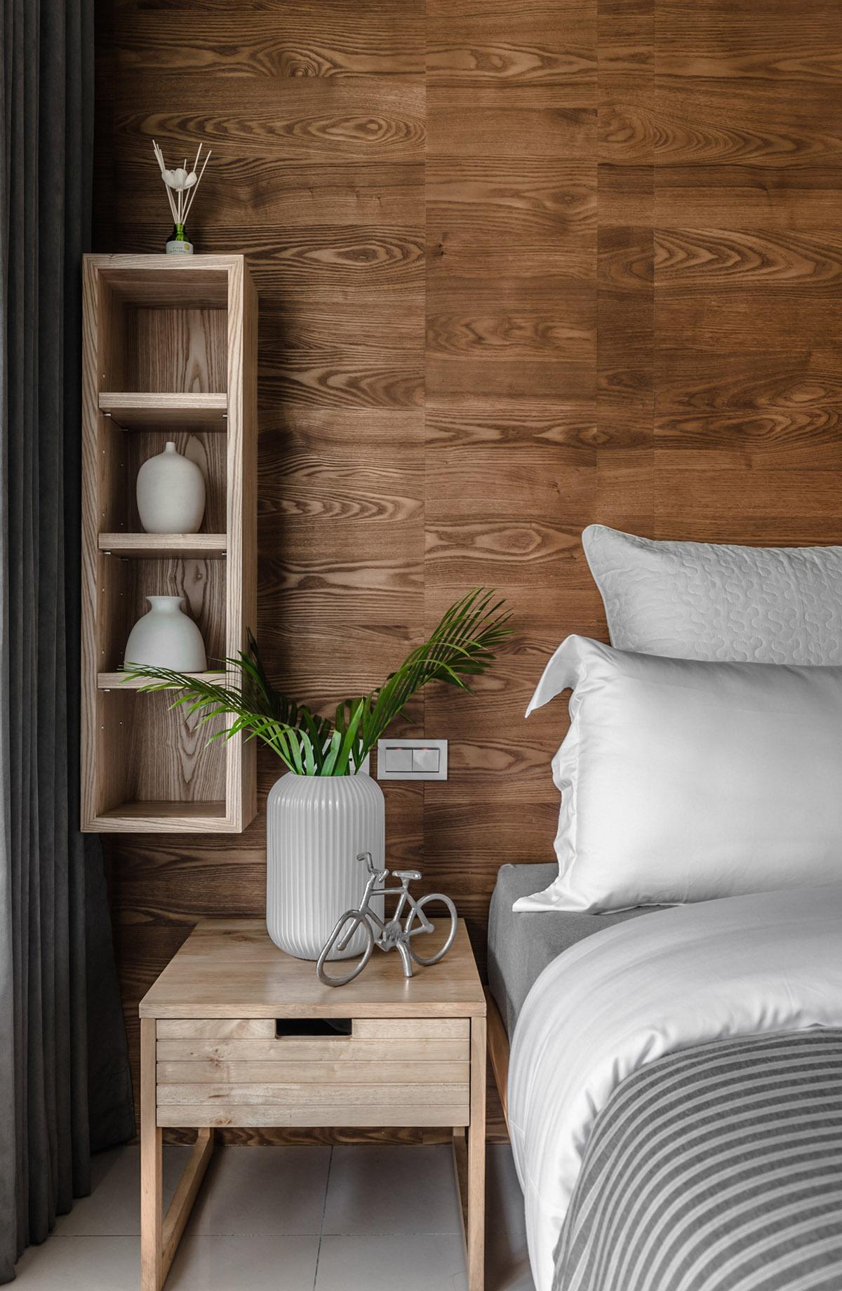 Các ý tưởng về thiết kế nội thất - Wood bedside table