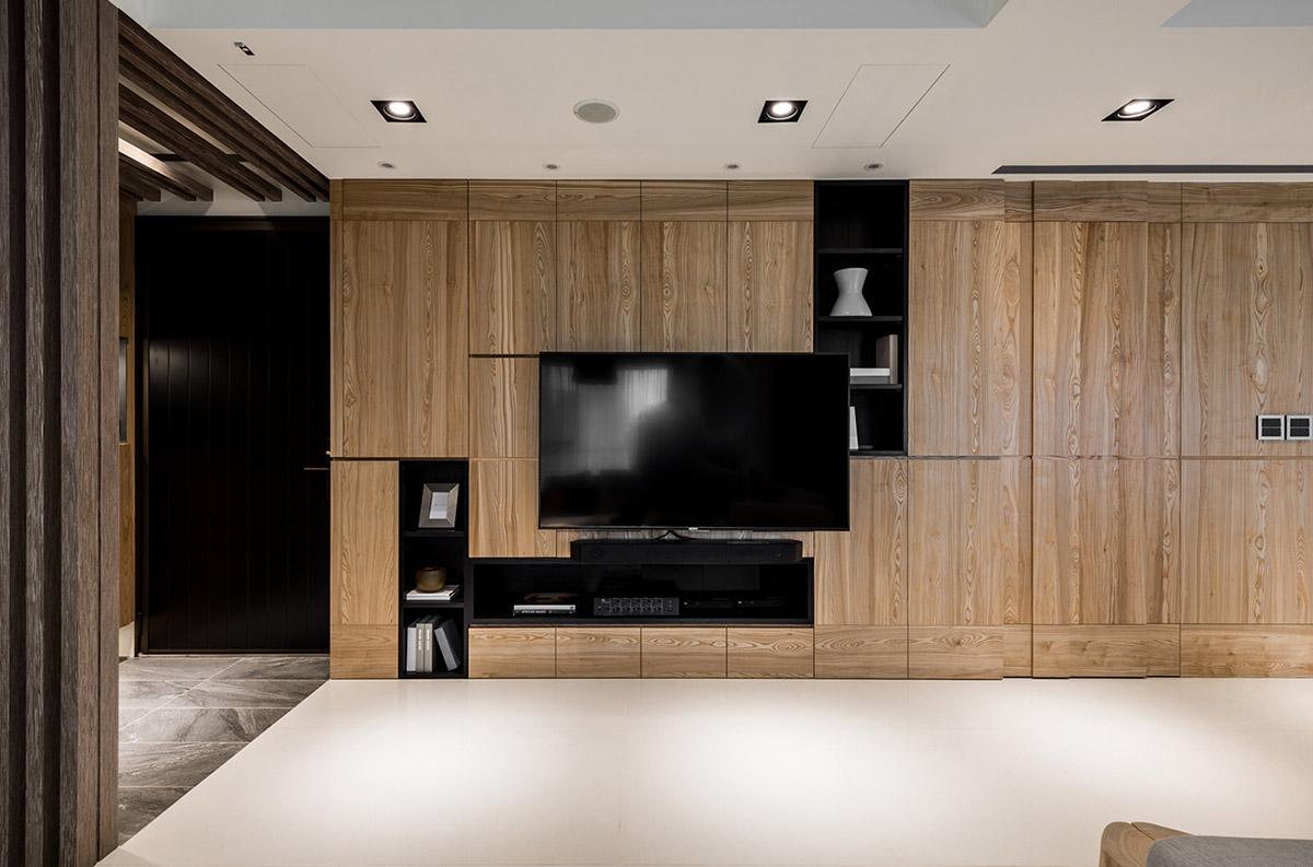 Các ý tưởng về thiết kế nội thất - Wooden TV feature wall 1