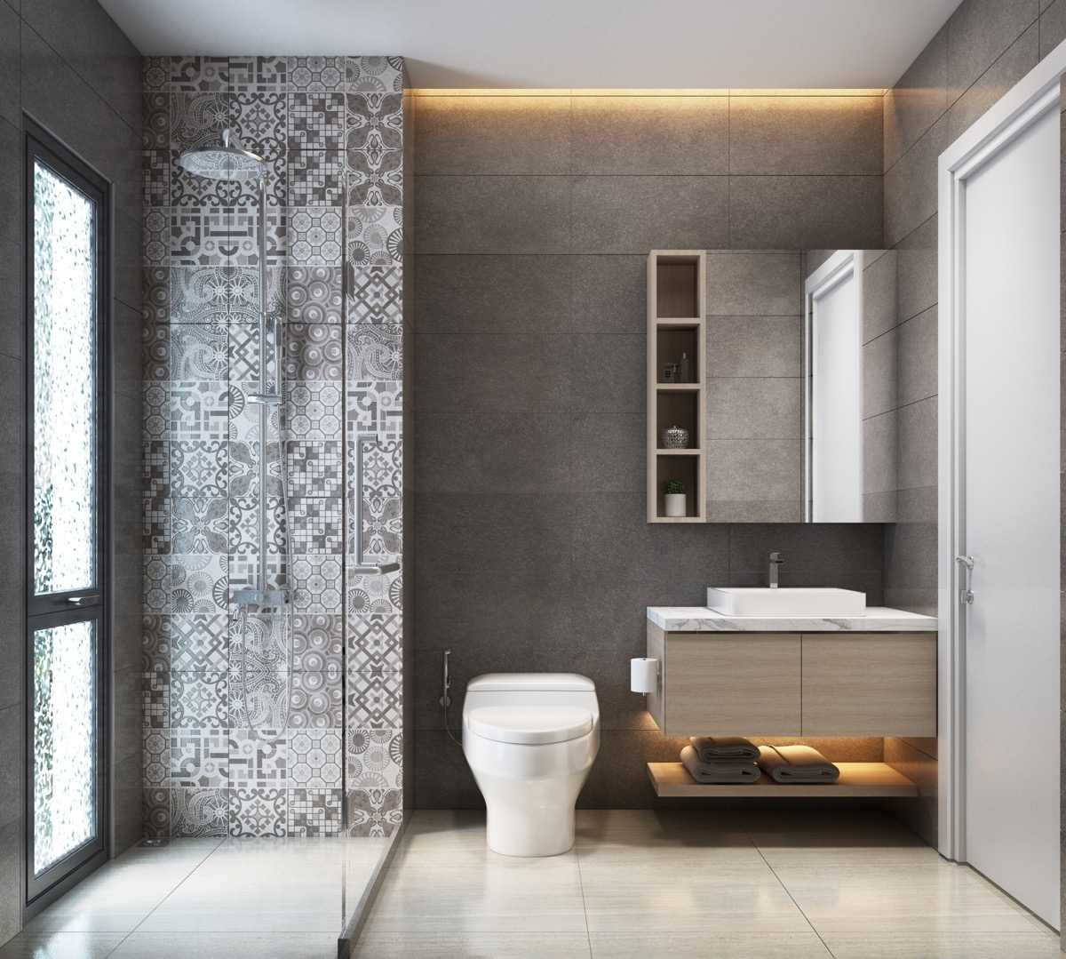Bathroom Tile Ideas: 36 Modern Grey & White Bathrooms That Relax Mind Body & Soul
