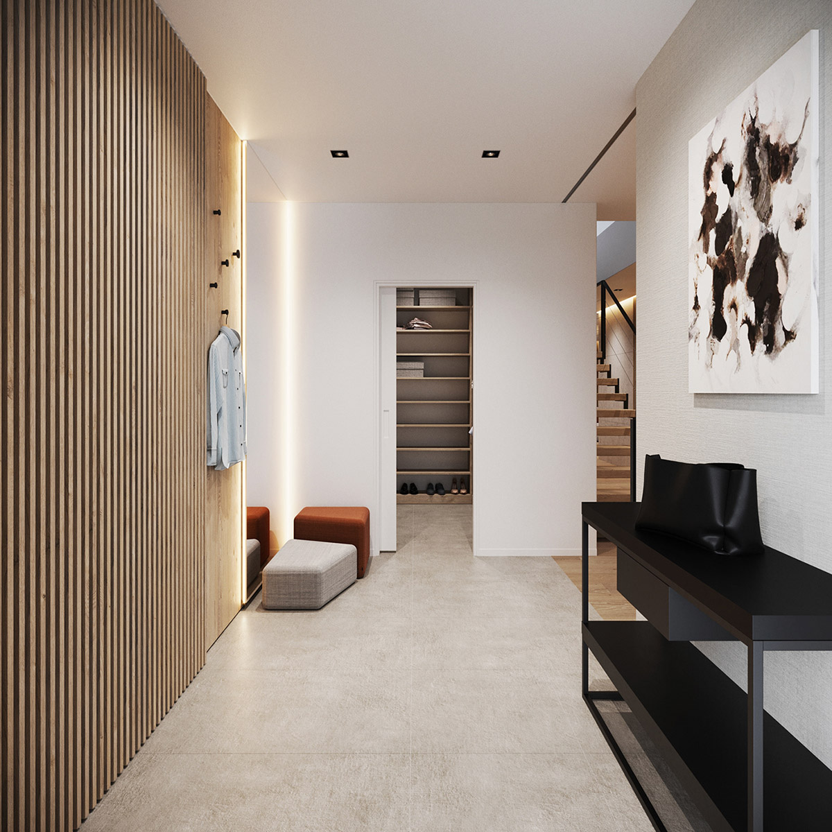 16 Great Ways To Dress Up A Drab Hallway: A Minimalist Home: Earthy, Modern & Masculine