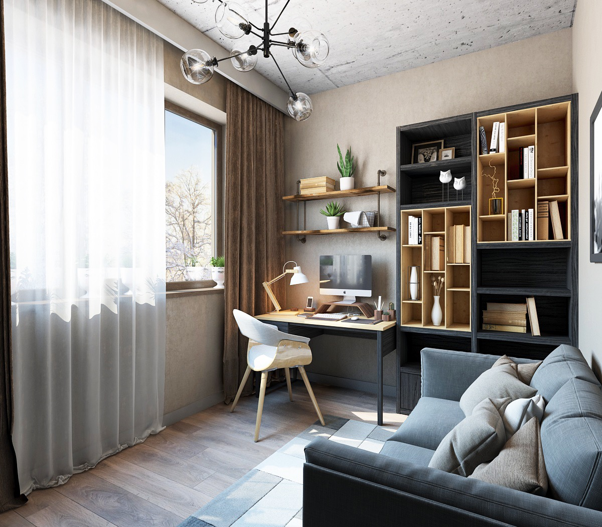 33 Inspiring Industrial Style Home Offices That Sport