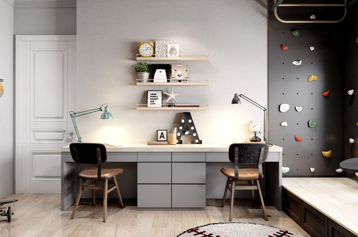 Chic Contemporary Spaces Rendered By Anh Nguyen: 53 Inspirational Kids' Study Space Designs And Tips You