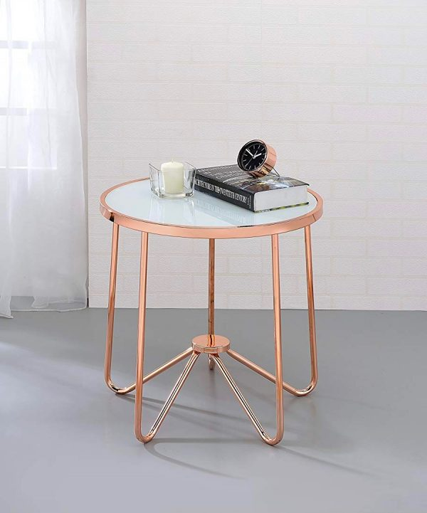 small round wooden side table