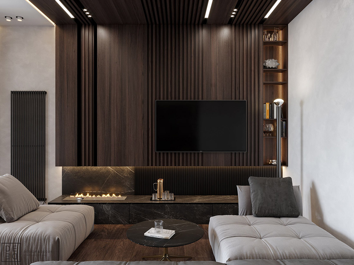 Luxurious interior with wood slat walls - Interior design wood walls ...