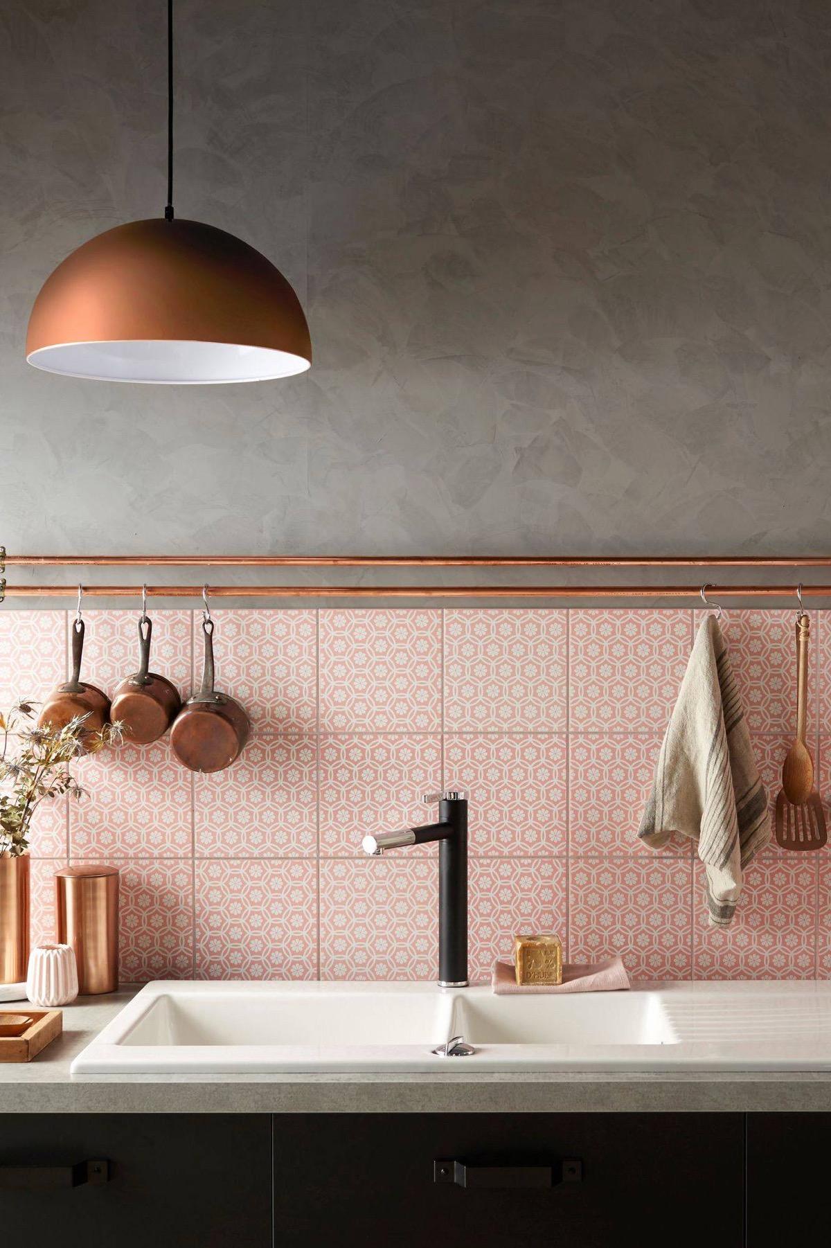 Coral Pink Retro Kitchen Backsplash Interior Design Ideas