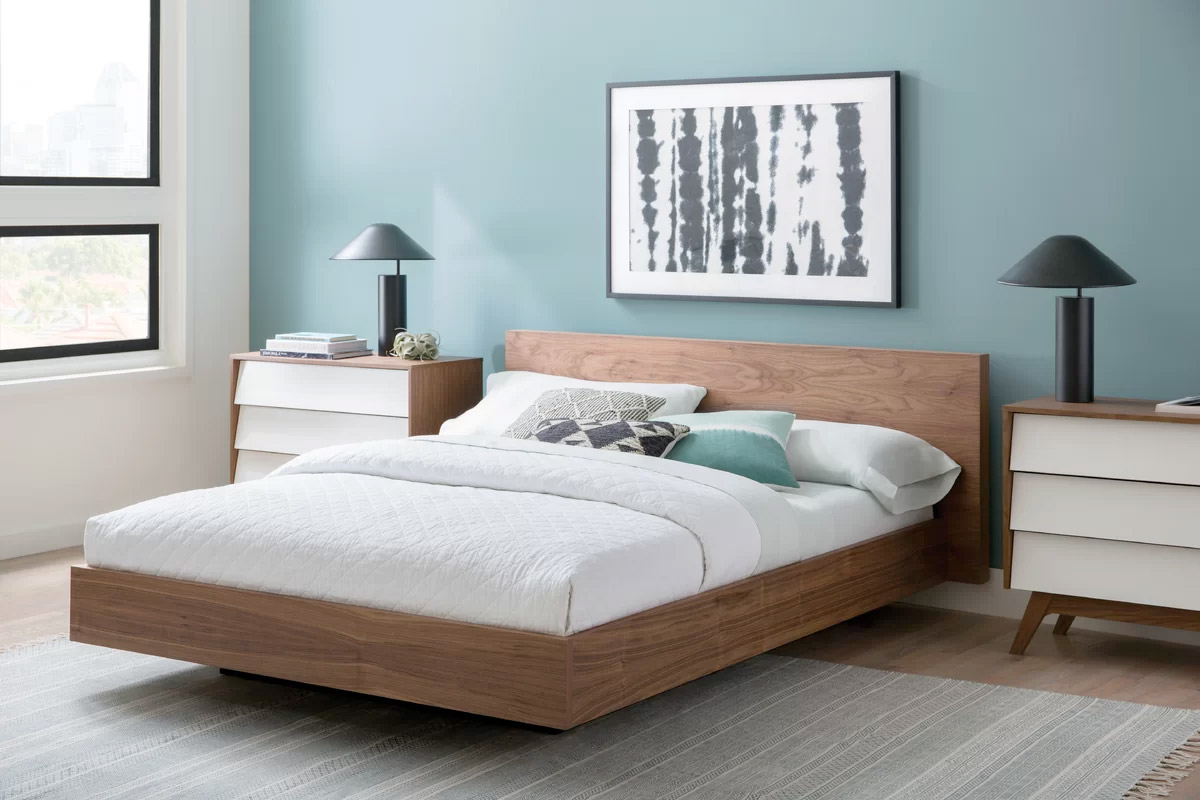 Floating Platform Bed With Walnut Wood Finish Minimalist Wood Bed Frame Modern