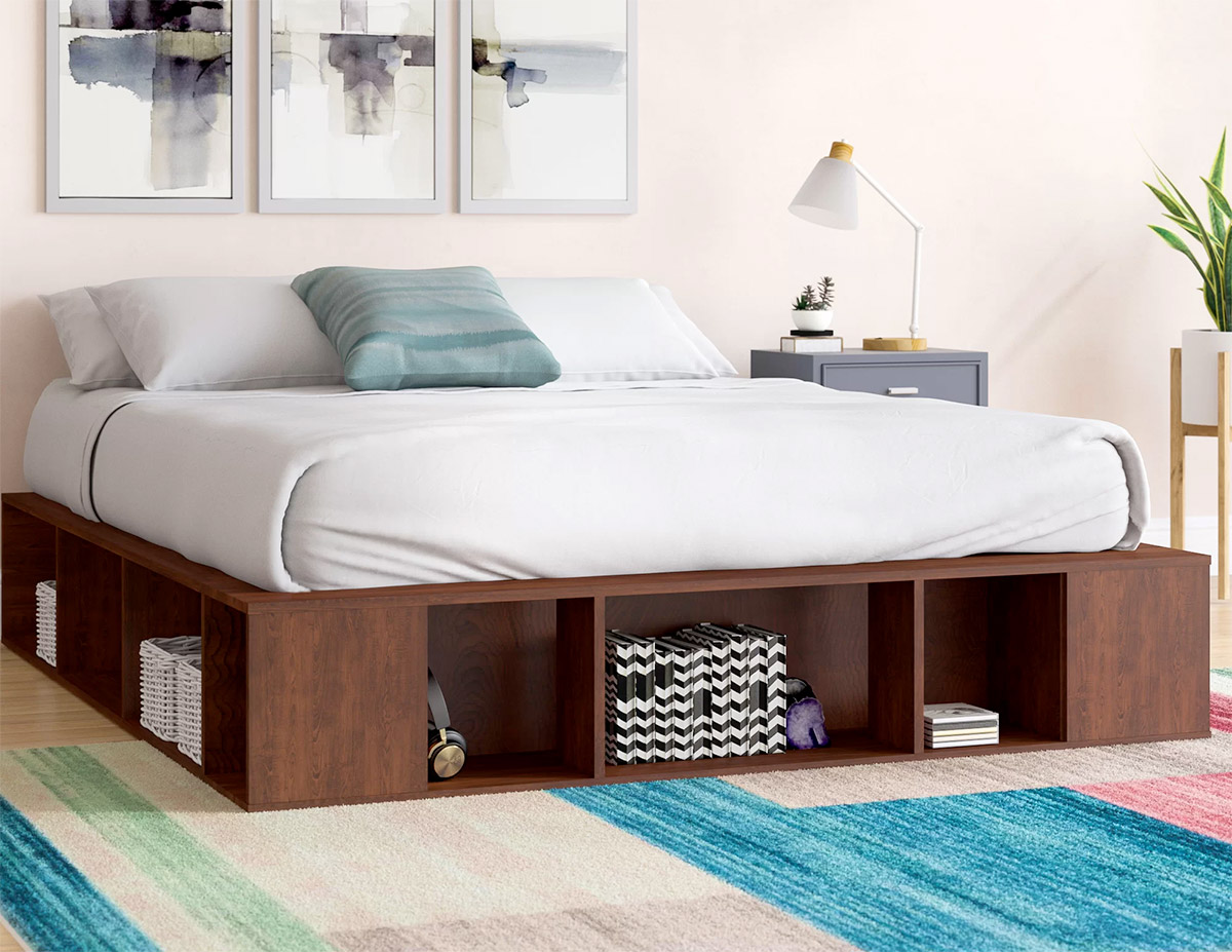 King Wooden Platform Bed With Shelving Underneath Cube Storage Shelves